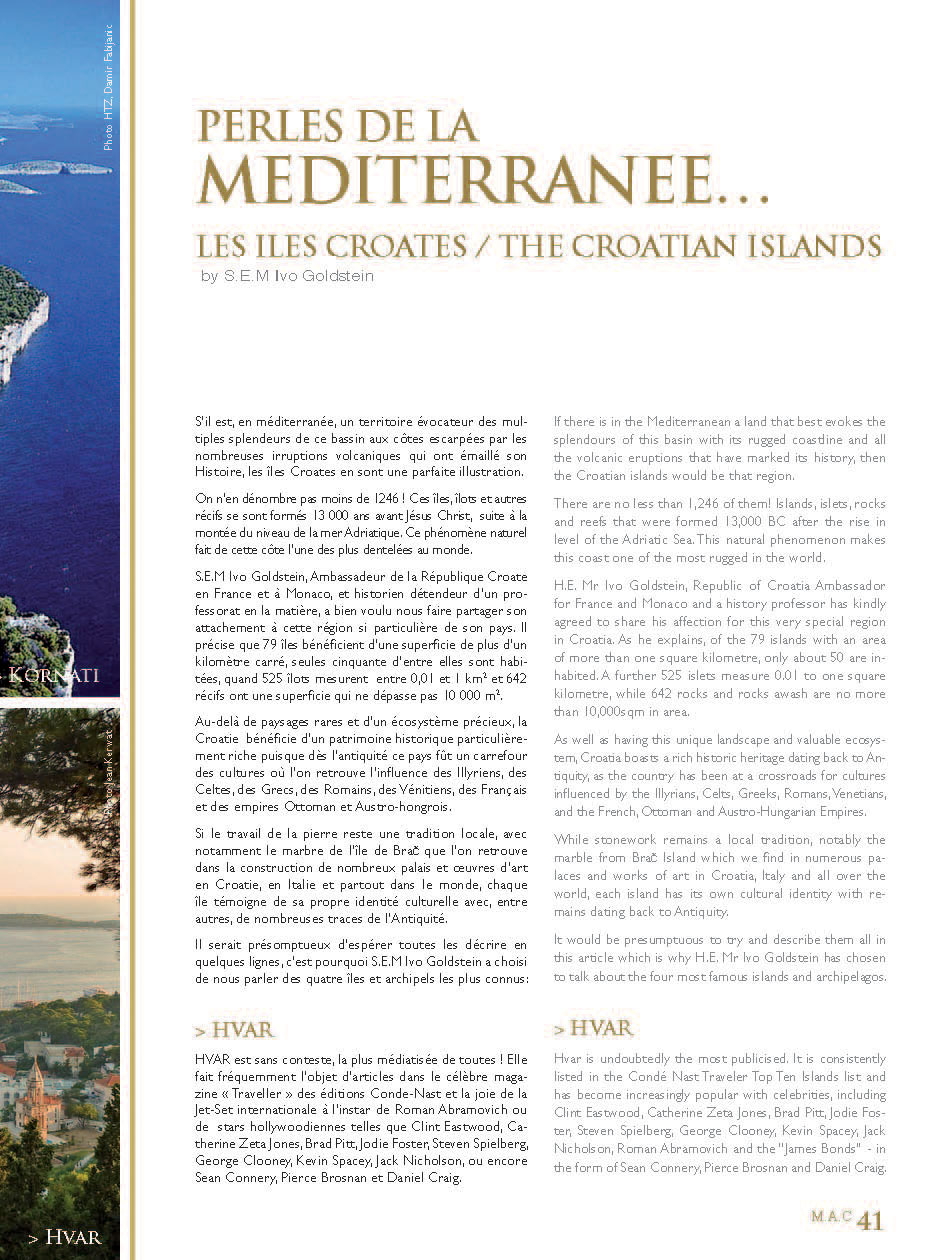 Article Iles Croates - Monaco Ambassadors Club Magazine Page 2