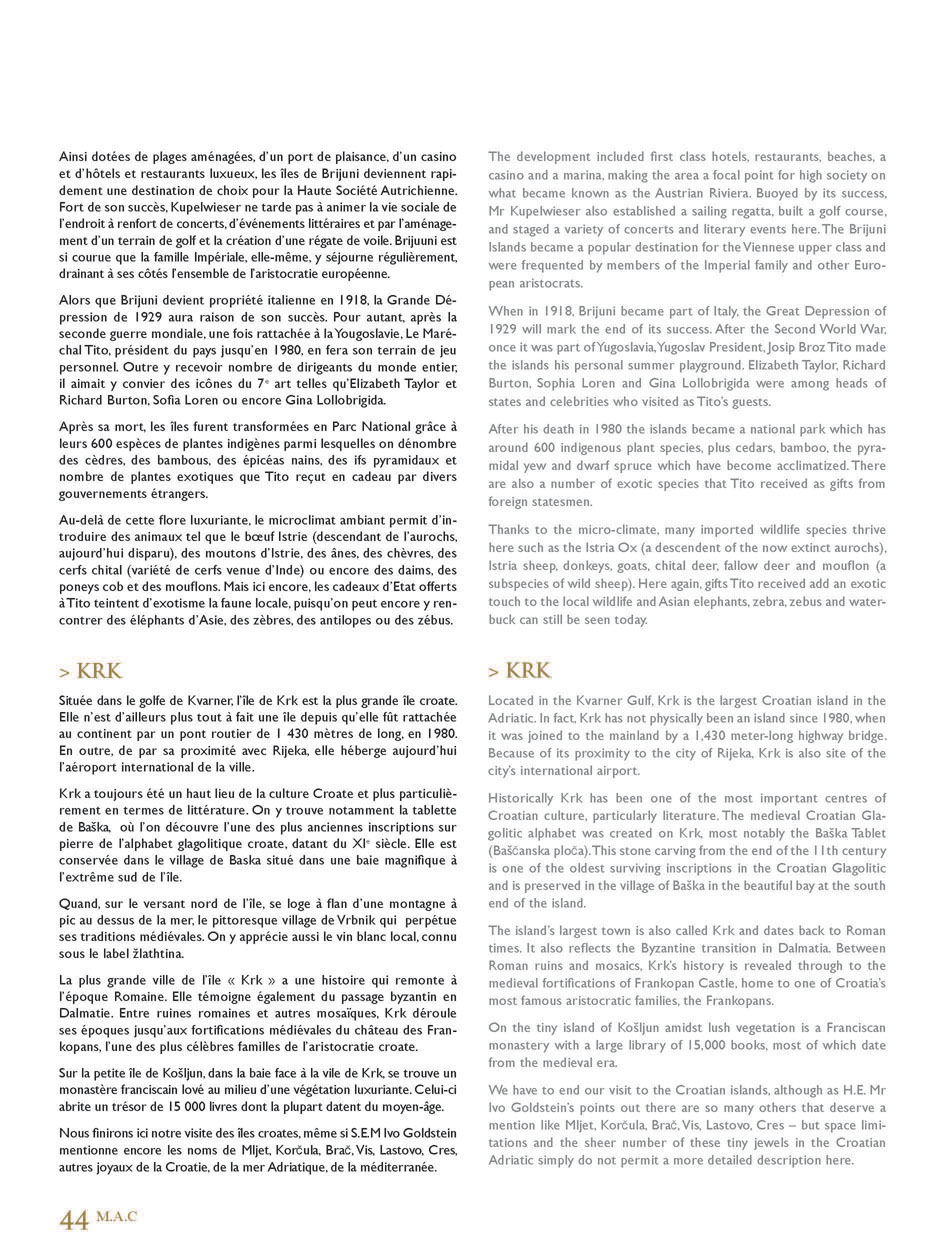 Article Iles Croates - Monaco Ambassadors Club Magazine Page 5