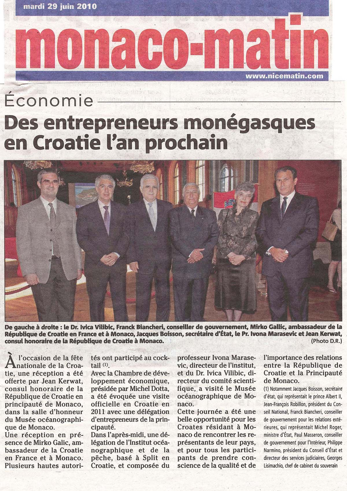 Article Monaco Matin CROATIE 2010
